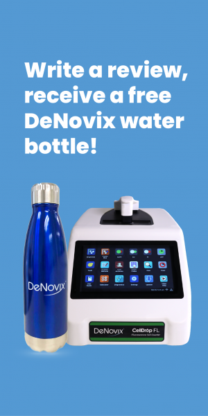 Write a review, receive a free DeNovix water bottle!